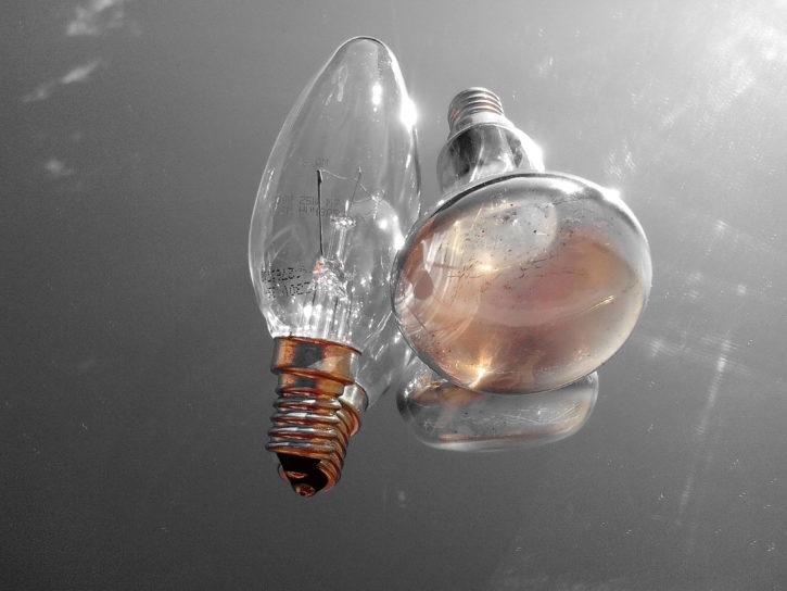 Bulb bottleneck E14, 60 watts, reflection, glass