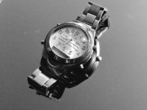 elegant wristwatch, metal, stainless steel