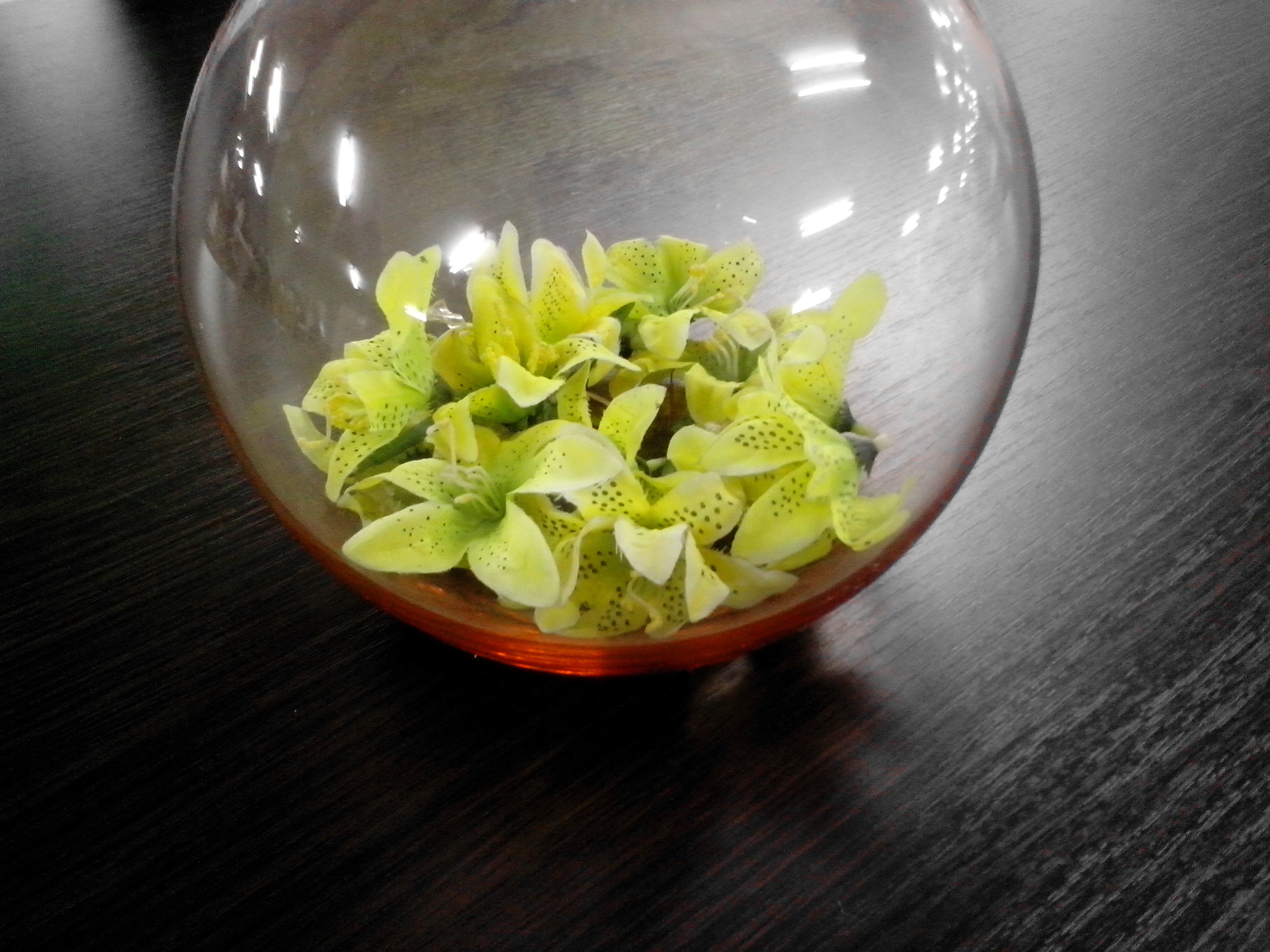 Free Picture Glass Bowl Green Flowers Decorations Decorating