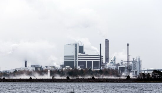 factory, industrial town, industry, sky, smog, smoke, steam, technology, water