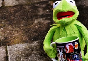 stuffed frog toy, stuffed animal, cartoon, toy, coffee cup, cute face