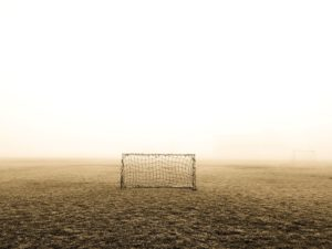 terrain, le brouillard, le football, le but, l'herbe, la brume, net, le football, les sports