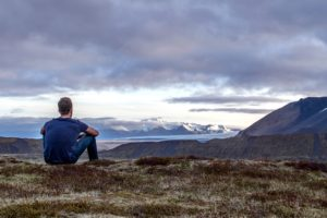 nature, person, scenic, sky, clouds, grass, landscape, mountain