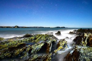 rocks, sea, seascape, seashore, stars, beach, nature, ocean