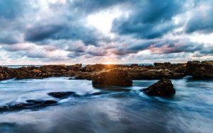 beach, clouds, dawn, dusk, evening, horizon, island