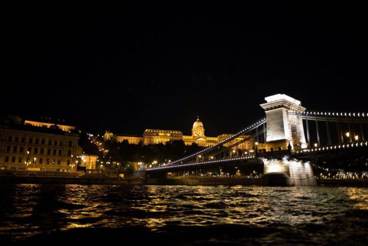 мост, нощ, отражение, река, град, град, пътуване, сграда, капитал, замък