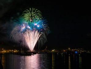 fireworks, lights, night, river, water, celebration, city, dark, festival