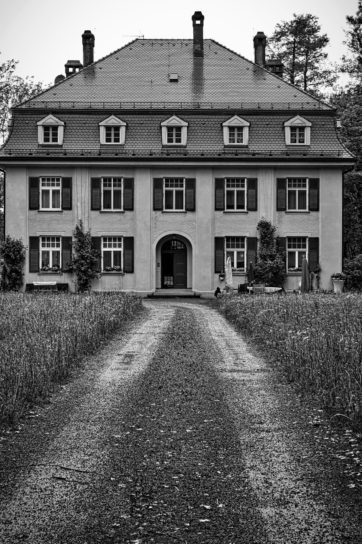 architecture, black and white, grass, historic, history, house, perspective, plants, vintage