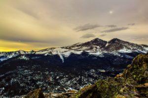 lever de soleil, coucher de soleil, vallée, hiver, paysage, montagnes, nature
