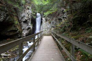 wooden bridge, waterfall national reserve, water, rocks, path