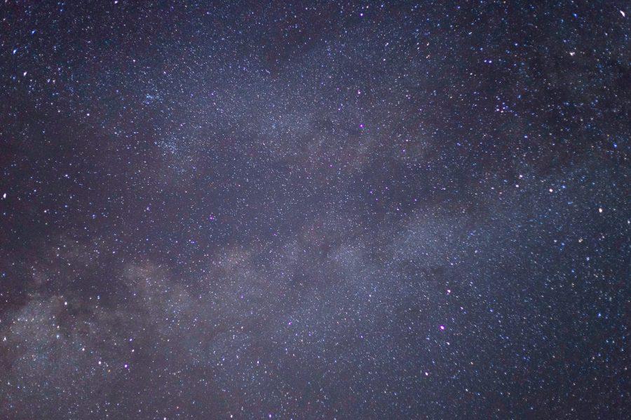 milky way, purple, stars, night, sky