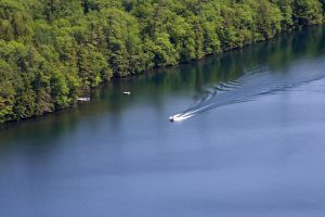 river boat, distance, water, lake, trees, summer