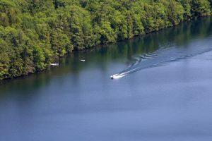 barco no rio, distância, água, lago, árvores, verão