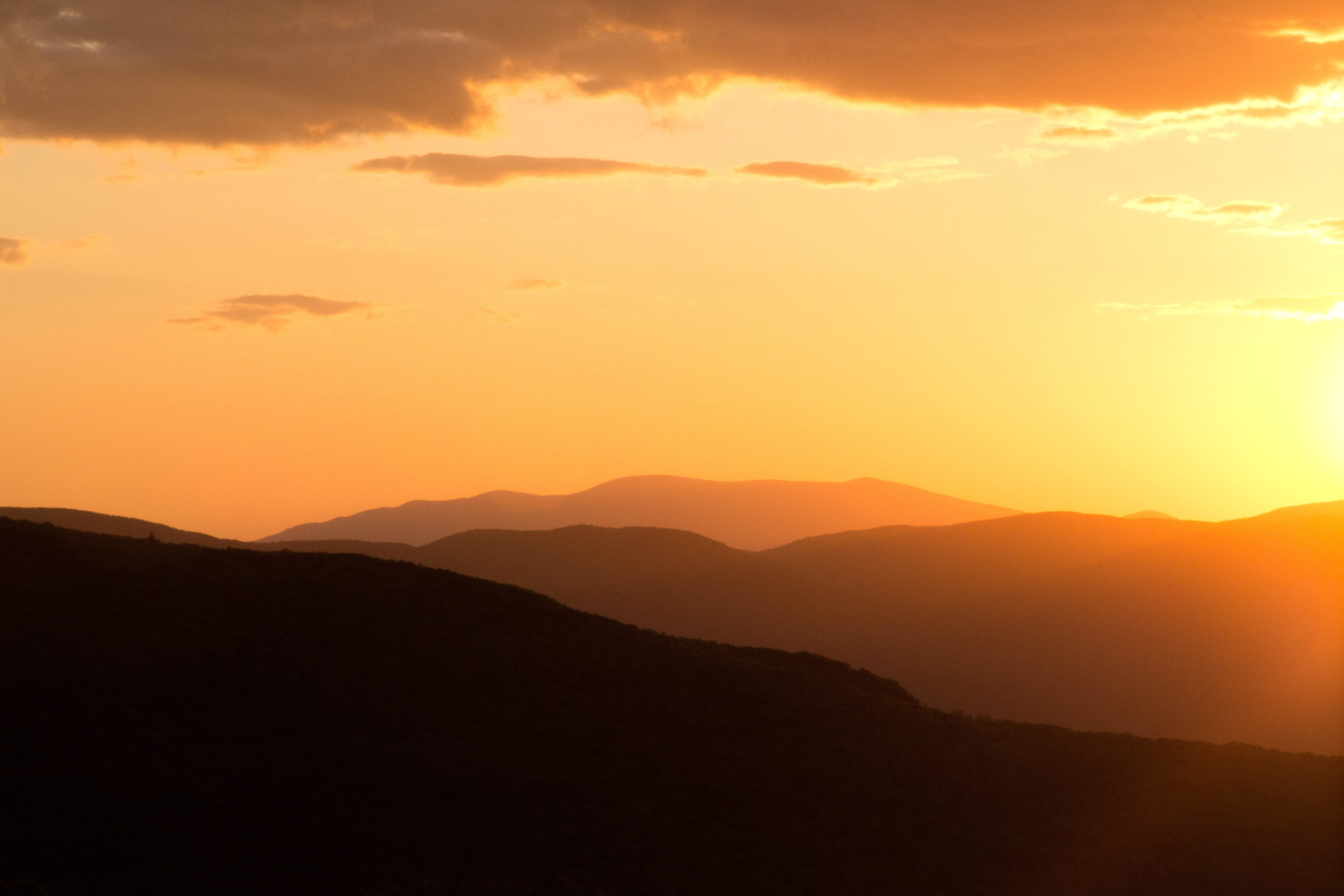 Free picture: onrage sunset, dusk, hills, sunset ...