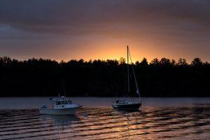 ships, lake, nature, sunset, boats