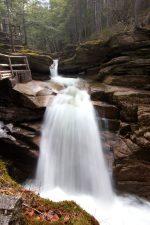 nice waterfall, wooden fence, waterfall, water, rocks, trees
