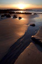 beach, nature, ocean, sunrise, sand, water, rocks