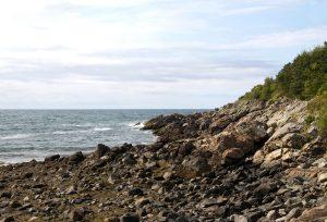 rocky coast, shore, rocky beach, ocean, water, rocks, clouds