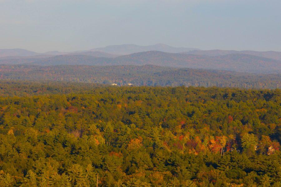 bomen, bergen, landschap, gebladerte, herfst