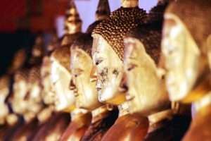 God, gold, religion, statues, worship, Buddha sculpture, Buddhism