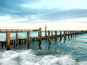 bridge, coast, dock, beach, ocean, seashore, sky