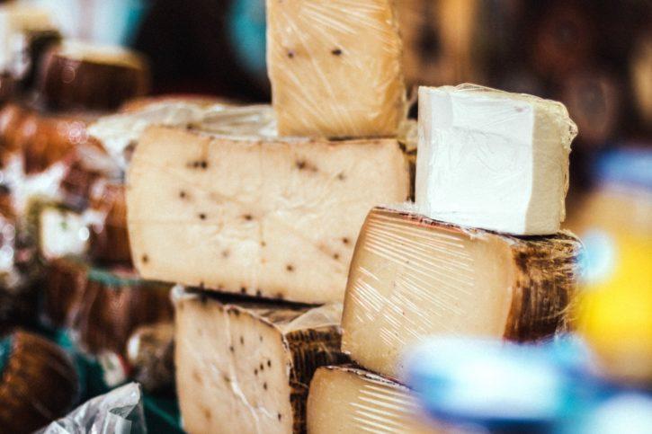 ost, supermarked, melk produkt mat