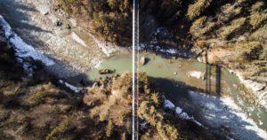 river, rocks, snow, trees, environment