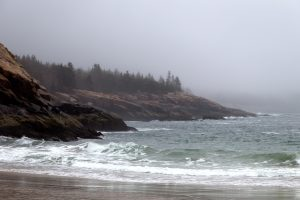 rocky beach, nature, landscape, ocean, beach, rocks, water, fog