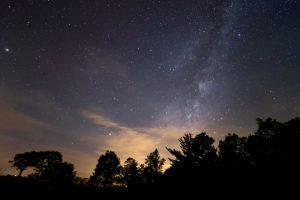 Voie Lactée, les étoiles, minuit, étoiles, nuit, nuages, arbres