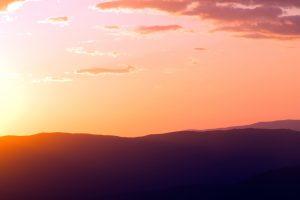 reddish sunset, colorful, nature, landscape, sunset, sky, mountains, clouds, sunlight, summer