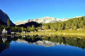 mountain, water, wood, reflection, boulder, daylight, lake