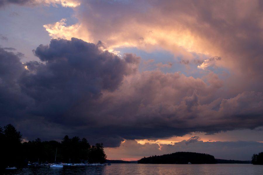 Marine, dok, lodě, obloha, večer, západ slunce, voda, mraky