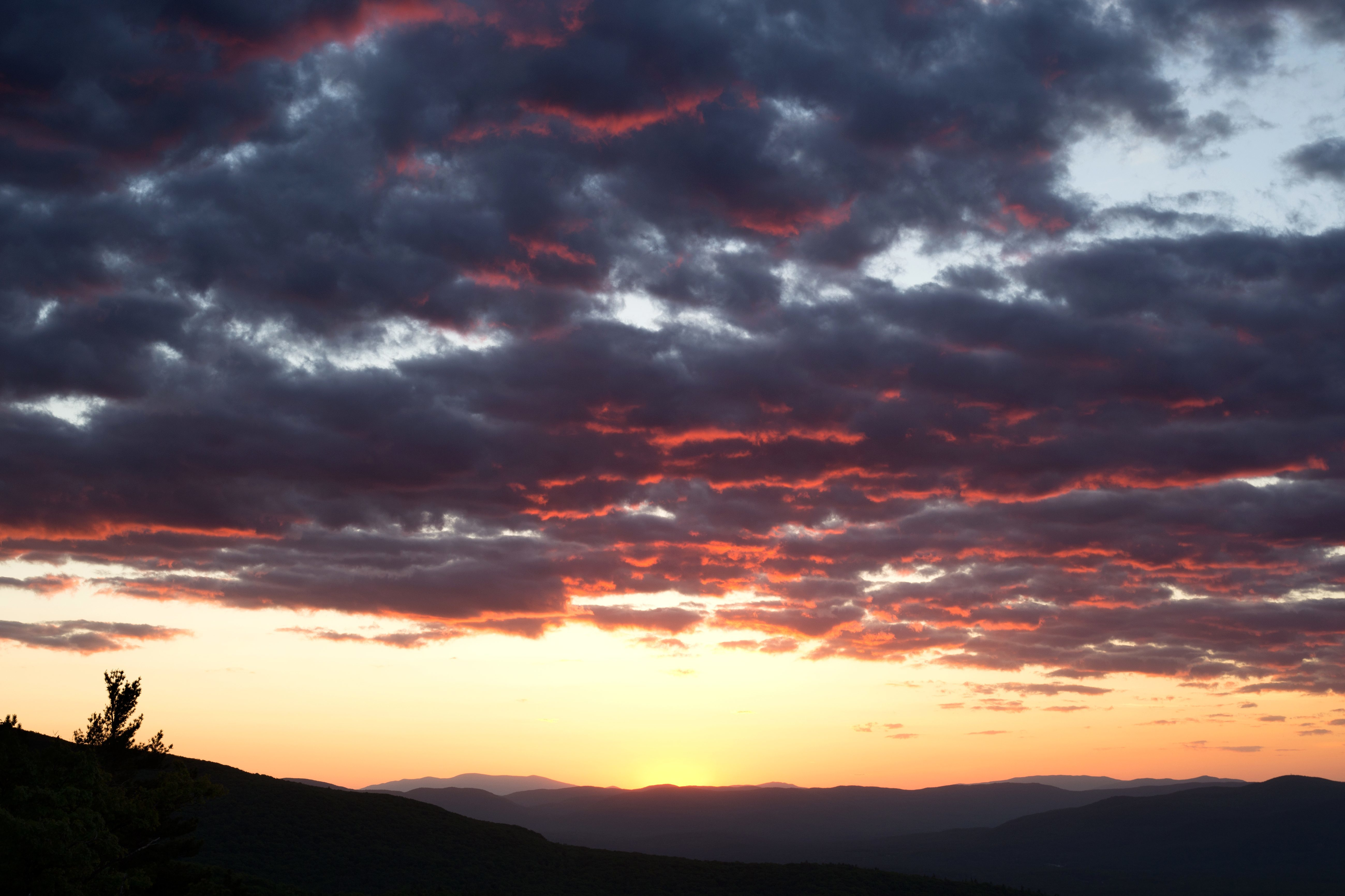 Free Picture Dark Clouds Purple Sunset Nature Landscape Sunset Clouds Sky Mountains Summer