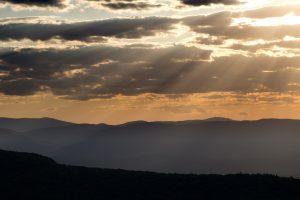 dark clouds, nature, landscape, sunset, mountains, sunlight, clouds, sky, summer
