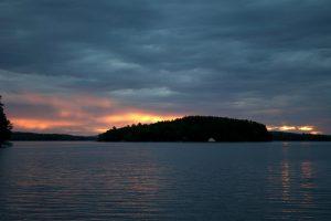island, night, lake, sunset, dark blue sky