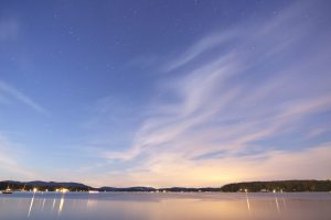 overlooking town, sea, calm water, stars, water, lake, clouds, sunset
