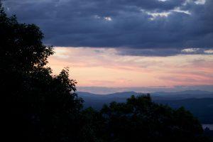kveld, skyer, trær, fjell, lake