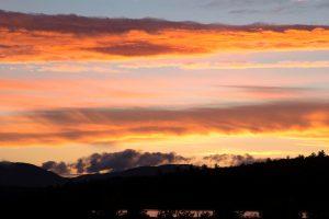 orange sky, dark clouds, nature, landscape, sunset, clouds, sky, mountains