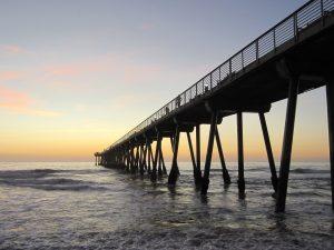 dock, architecture, ocean, sunset, beach