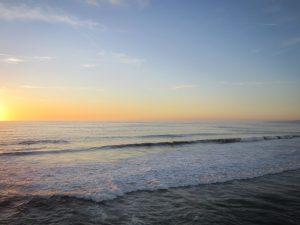 dusk, sea, ocean, water, sunset, summer, clouds