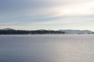 fog, mist, lake, scenic, lake, fog, trees, clouds