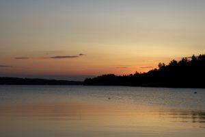 lake water, summer time, lake, trees, sunset, water