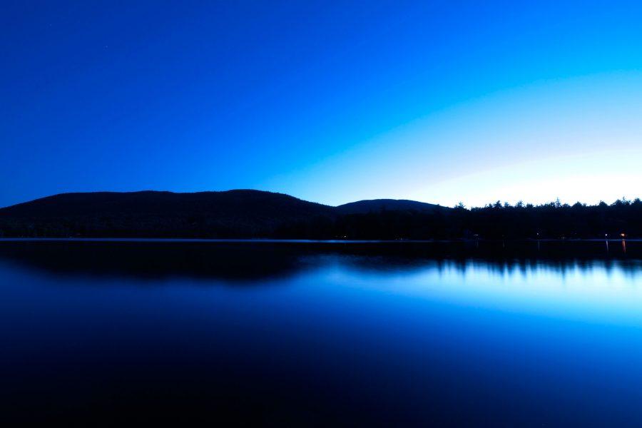 middernacht, meer, water reflectie, water, lake, bergen, bomen