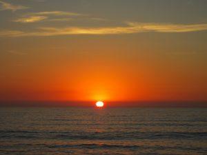 orange sunset, ocean sunset, sunset, ocean, water, clouds, summer