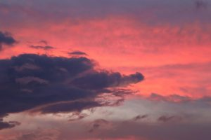 pinkish clouds, purple sky, dark clouds, sunset, clouds, sky, summer