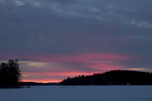 winter sunset, dawn, lake, ice, winter, sunset, clouds, trees