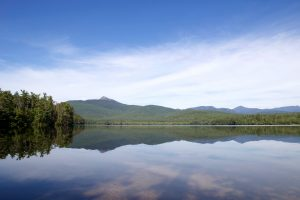 water reflection, park, blue sky, white cloud, lake, water, mountains, clouds, trees