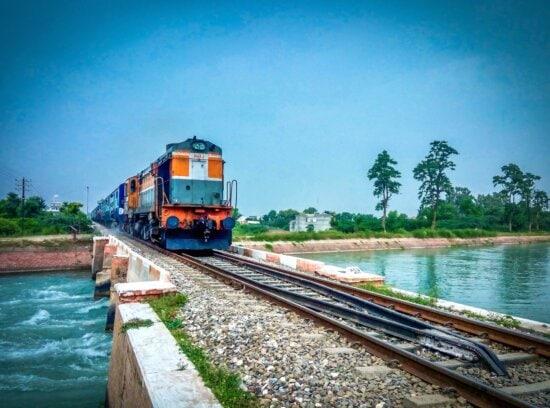 ferrovia, fiume, treno, trasporto, veicolo, acqua