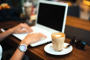 clavier, ordinateur, café, bureau, boisson, ordinateur portable