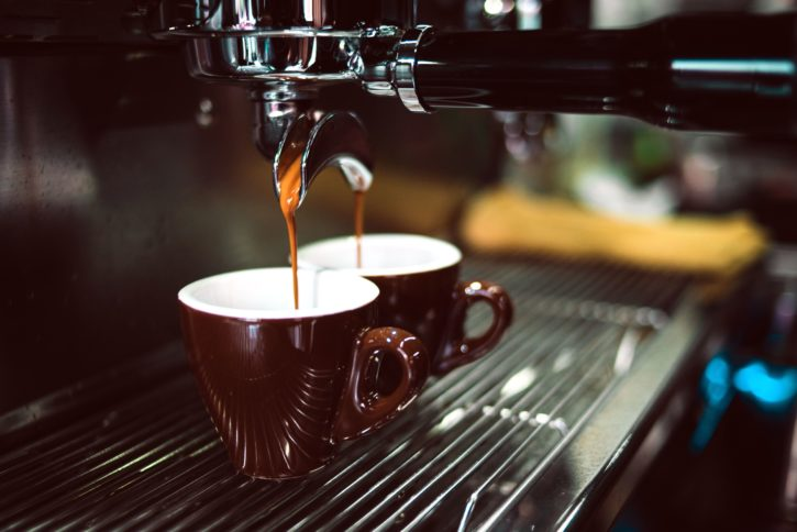 hot espresso, coffee machine, coffee mugs, beverage, caffeine